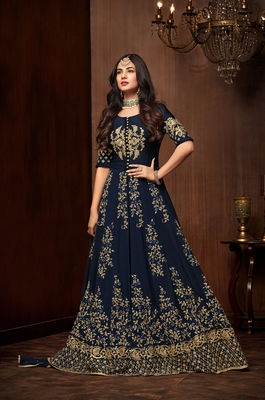Navy-blue stone georgette Anarkali Suit