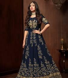 Navy-blue stone georgette Anarkali Suit