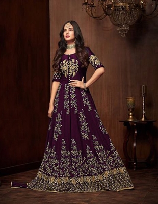 Wine stone georgette Anarkali Suit