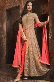 fef4f58ec7 Beige embroidered net Anarkali SUit