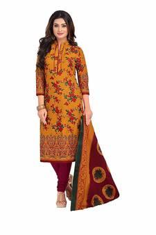 ea555c6e1b29 Mustard printed pure cotton salwar with dupatta