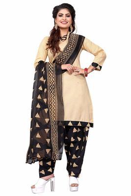 Beige printed pure cotton salwar with dupatta