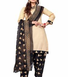 Buy Beige printed pure cotton salwar with dupatta dress-material online