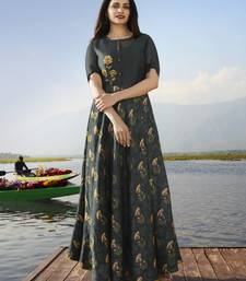 Dark grey embroidered georgette long kurtis
