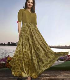 Olive embroidered georgette long kurtis