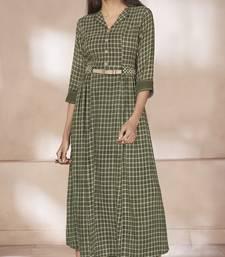 Green printed rayon long kurtis