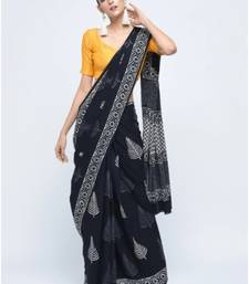 Buy Black printed cotton saree with blouse cotton-saree online