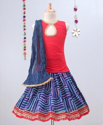 Blue Leheriya Lehenga With Red Tie Back Choli And Blue Dupatta