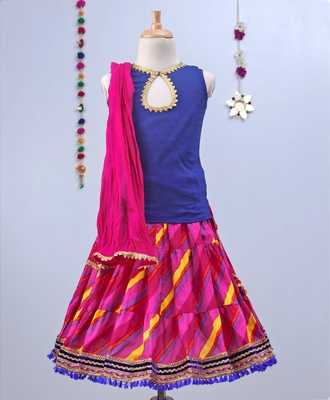 Fuschia Pink Leheriya Lehenga With Blue Tie Back Choli And Pink Dupatta