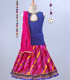 Fuschia Pink Leheriya Lehenga with blue tie back choli and Pink dupatta