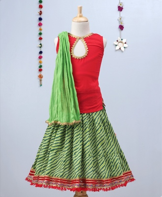 Green Leheriya Lehenga With Red Tie Back Choli And Green Dupatta