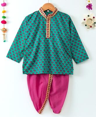 Printed Green Kurta With Contrast Pink Dhoti