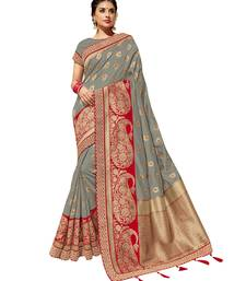 Grey embroidered jacquard saree with blouse