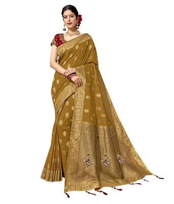 Mustard embroidered jacquard saree with blouse
