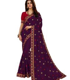 78c921ce81431 Purple embroidered art silk saree with blouse