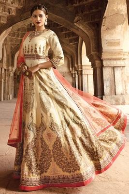 Cream resham embroidery bhagalpuri silk salwar with dupatta