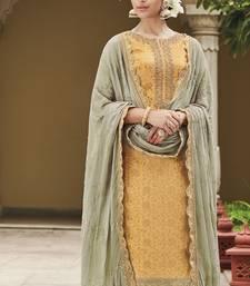 Yellow embroidered silk salwar with dupatta