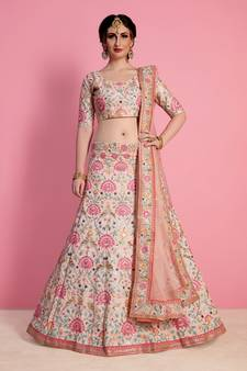 85c9f3ea22a26 BABY PINK ART SILK EMBROIDERED LEHENGA WITH DUPATTA. Shop Now