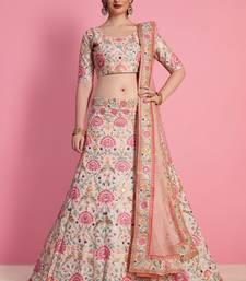 Baby Pink Art Silk Embroidered Bridal Lehenga