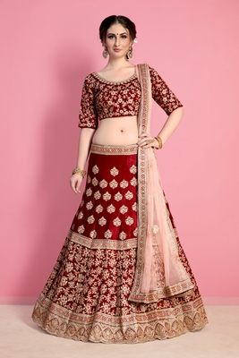 Maroon Resham and Sequins embroidered velvet semi stitched lehenga choli with dupatta