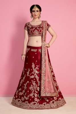 Maroon Embroidered Velvet Silk Semi Stitched Bridal Lehenga