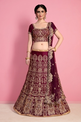 Dark-red embroidered velvet semi stitched lehenga with dupatta