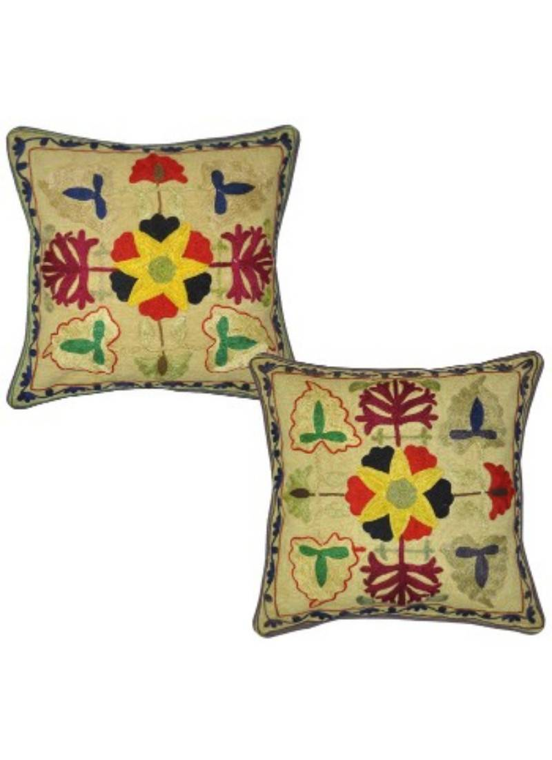 Lal Haveli Colorful Flower Hand Embroidered Designer Cotton Cushion Pillow Cover 17 Inch Lal Haveli 2783054
