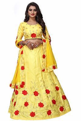 Yellow embroidered satin semi stitched lehenga with dupatta