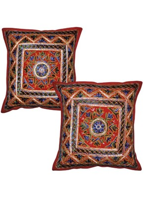 Indian embroidery Work Design cotton Elegant Cushion Cover 16 X 16 Inches Set Of 2 Pcs