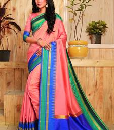 Buy Peach woven cotton silk saree with blouse silk-blend-saree online