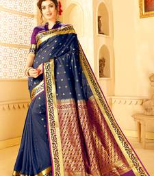 Buy Blue woven silk blend saree with blouse silk-blend-saree online