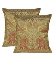 Lal Haveli Handmade Peacock & Elephant Work Design silk Cushion Cover 16 X 16