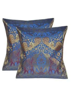 Lal Haveli Elephant Work Decorated Elegant silk Cushion Cover 16 X 16 Sets of 2 Pcs