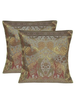 Lal Haveli Room Decorative Handmade silk Cushion Cover 16 X 16 Sets of 2 Pcs
