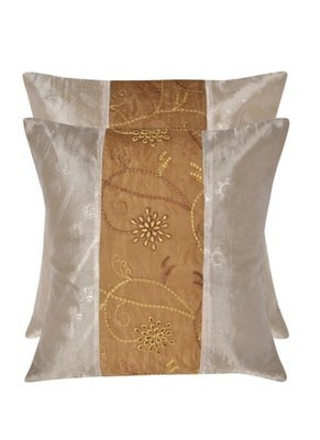 Lal Haveli patchwork silk Cushion Cover Set of 2 Pcs 16 X 16 inches