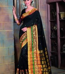 Buy Magenta embroidered cotton silk saree with blouse silk-blend-saree online