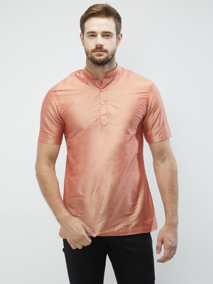 irin Pink Poly Viscose Half Sleeves Solid Mandarin Short Kurta For Men