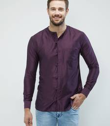 irin Dark Purple Poly Viscose Full Sleeves Solid Round Neck Short Kurta For Men