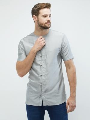 irin Grey Poly Viscose Half Sleeves Solid Round Neck Short Kurta For Men