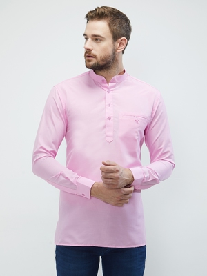 irin Pink Poly Cotton Full Sleeves Solid Mandarin Short Kurta For Men