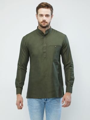 irin Olive Green Poly Cotton Full Sleeves Solid Mandarin Short Kurta For Men
