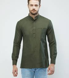 irin Olive Green Poly Cotton Full Sleeves Solid Mandarin Short Kurta For Men