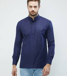 irin Royal Blue Poly Cotton Full Sleeves Solid Mandarin Short Kurta For Men