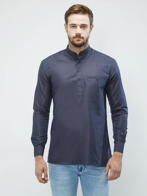 irin Navy Blue Poly Cotton Full Sleeves Solid Mandarin Short Kurta For Men