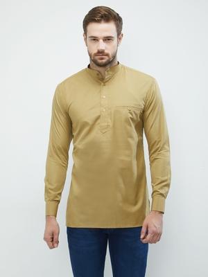 irin Beige Poly Cotton Full Sleeves Solid Mandarin Short Kurta For Men