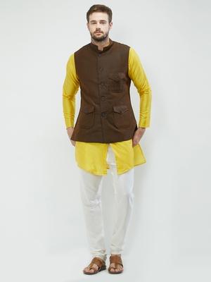 irin Poly Viscose Ethnic Set Of Dark Brown Koti (Waistcoat), Yellow and White Kurta Churidar For Men