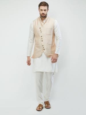 irin Poly Viscose Ethnic Set Of  Beige Koti (Waistcoat) And White Kurta Churidar For Men