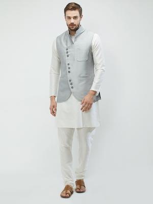 irin Poly Viscose Ethnic Set Of  Grey Koti (Waistcoat) And White Kurta Churidar For Men