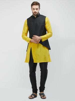 irin Poly Viscose Ethnic Set Of Black Koti (Waistcoat), Yellow and Black Kurta Churidar For Men