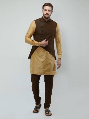 irin Poly Viscose Ethnic Set Of Dark Brown Koti (Waistcoat), Gold and Dark Brown Kurta Churidar For Men